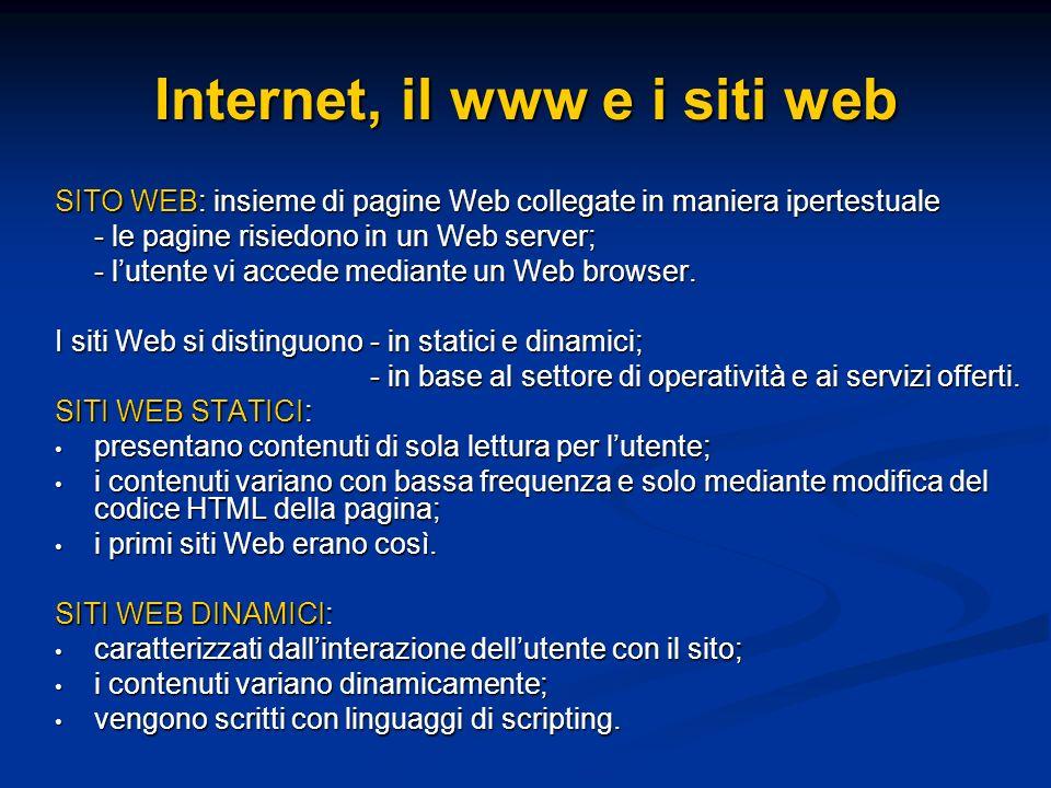 SITO WEB: insieme di pagine Web collegate in maniera ipertestuale - le pagine risiedono in un Web server; - lutente vi accede mediante un Web browser.