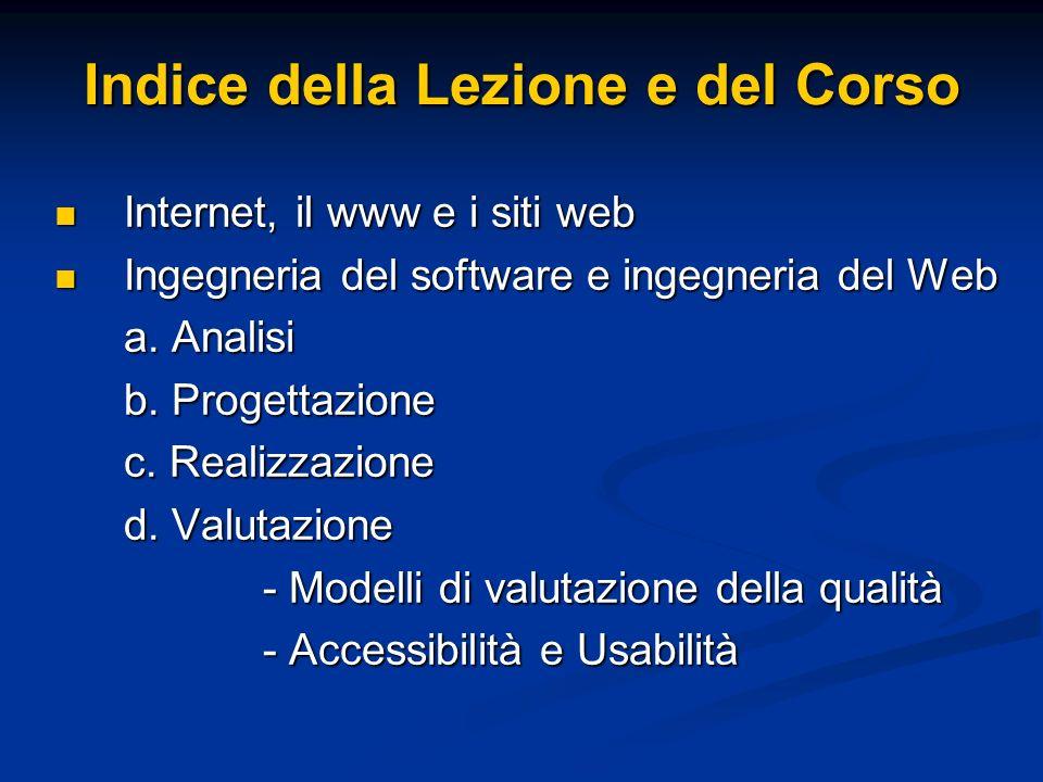Indice della Lezione e del Corso Internet, il www e i siti web Internet, il www e i siti web Ingegneria del software e ingegneria del Web Ingegneria del software e ingegneria del Web a.