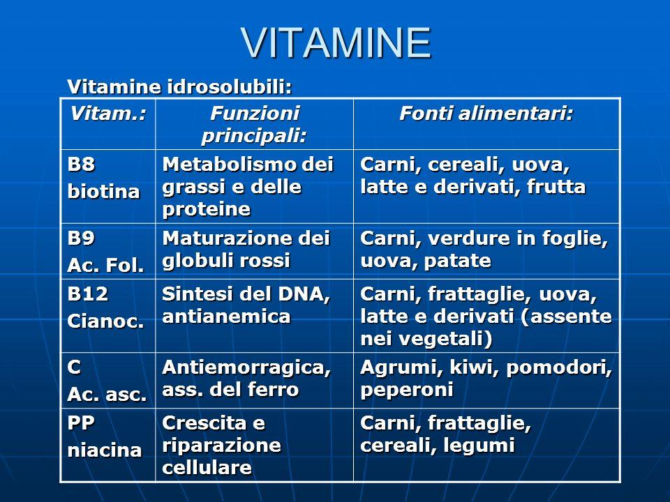VITAMINE Vitamine idrosolubili: Vitam.: Funzioni principali: Fonti alimentari: B8biotina Metabolismo dei grassi e delle proteine Carni, cereali, uova,