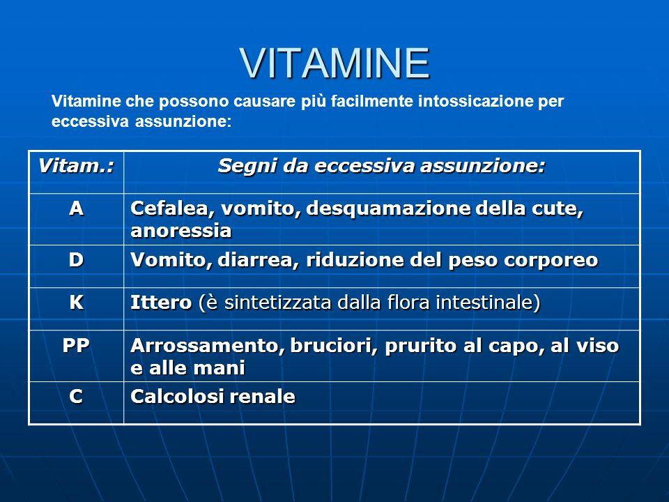 VITAMINE Vitamine che possono causare più facilmente intossicazione per eccessiva assunzione: Vitam.: Segni da eccessiva assunzione: A Cefalea, vomito
