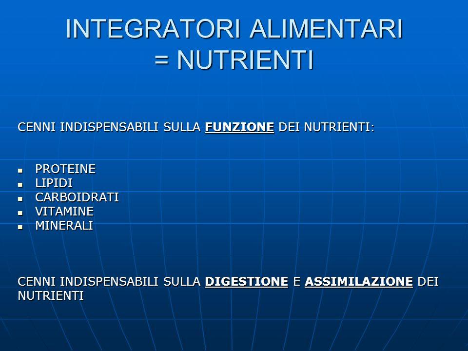 INTEGRATORI ALIMENTARI = NUTRIENTI CENNI INDISPENSABILI SULLA FUNZIONE DEI NUTRIENTI: PROTEINE PROTEINE LIPIDI LIPIDI CARBOIDRATI CARBOIDRATI VITAMINE