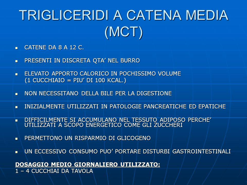 TRIGLICERIDI A CATENA MEDIA (MCT) CATENE DA 8 A 12 C. CATENE DA 8 A 12 C. PRESENTI IN DISCRETA QTA NEL BURRO PRESENTI IN DISCRETA QTA NEL BURRO ELEVAT
