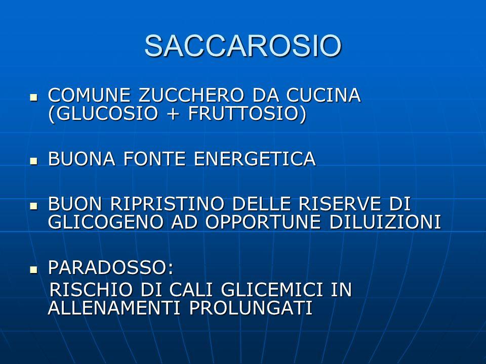 SACCAROSIO COMUNE ZUCCHERO DA CUCINA (GLUCOSIO + FRUTTOSIO) COMUNE ZUCCHERO DA CUCINA (GLUCOSIO + FRUTTOSIO) BUONA FONTE ENERGETICA BUONA FONTE ENERGE