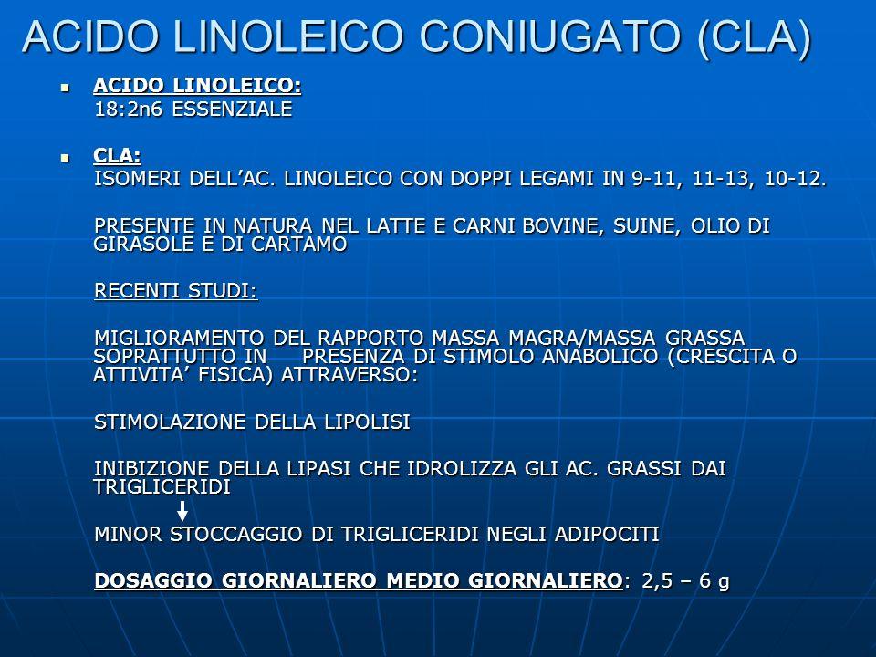 ACIDO LINOLEICO CONIUGATO (CLA) ACIDO LINOLEICO: ACIDO LINOLEICO: 18:2n6 ESSENZIALE 18:2n6 ESSENZIALE CLA: CLA: ISOMERI DELLAC. LINOLEICO CON DOPPI LE