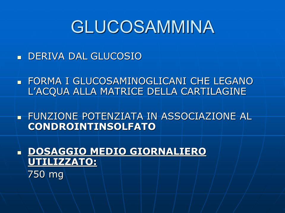 GLUCOSAMMINA DERIVA DAL GLUCOSIO DERIVA DAL GLUCOSIO FORMA I GLUCOSAMINOGLICANI CHE LEGANO LACQUA ALLA MATRICE DELLA CARTILAGINE FORMA I GLUCOSAMINOGL
