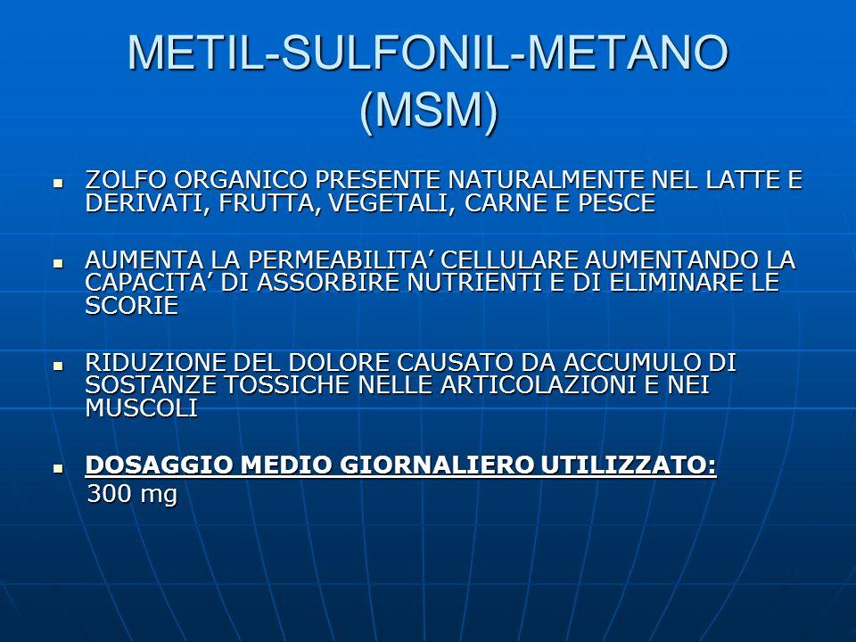 METIL-SULFONIL-METANO (MSM) ZOLFO ORGANICO PRESENTE NATURALMENTE NEL LATTE E DERIVATI, FRUTTA, VEGETALI, CARNE E PESCE ZOLFO ORGANICO PRESENTE NATURAL