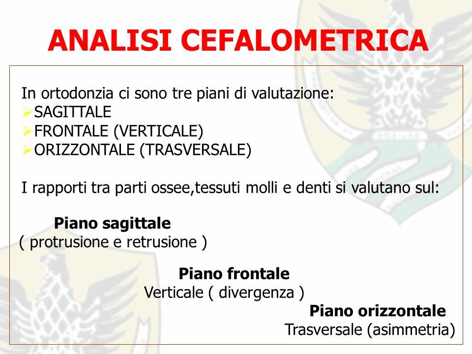 ANALISI CEFALOMETRICA In ortodonzia ci sono tre piani di valutazione: SAGITTALE FRONTALE (VERTICALE) ORIZZONTALE (TRASVERSALE) I rapporti tra parti ossee,tessuti molli e denti si valutano sul: Piano sagittale ( protrusione e retrusione ) Piano orizzontale Trasversale (asimmetria) Piano frontale Verticale ( divergenza )