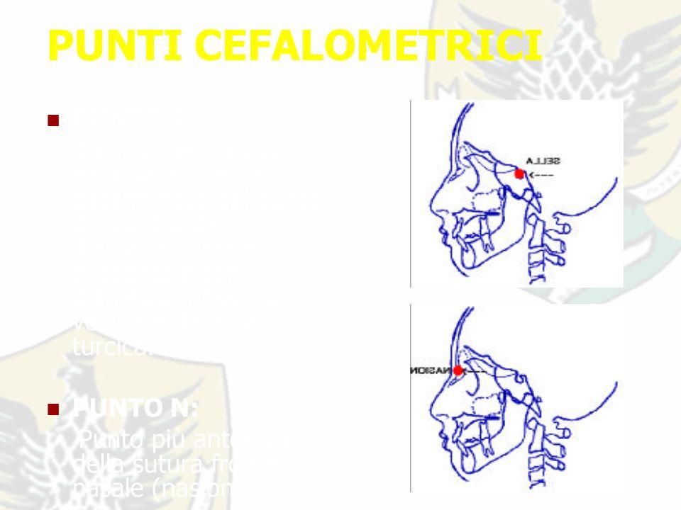 PUNTI CEFALOMETRICI PUNTO S: Centro geometrico della sella turcica determinato dal punto d incontro del diametro massimo orizzontale con il diametro massimo verticale della sella turcica.