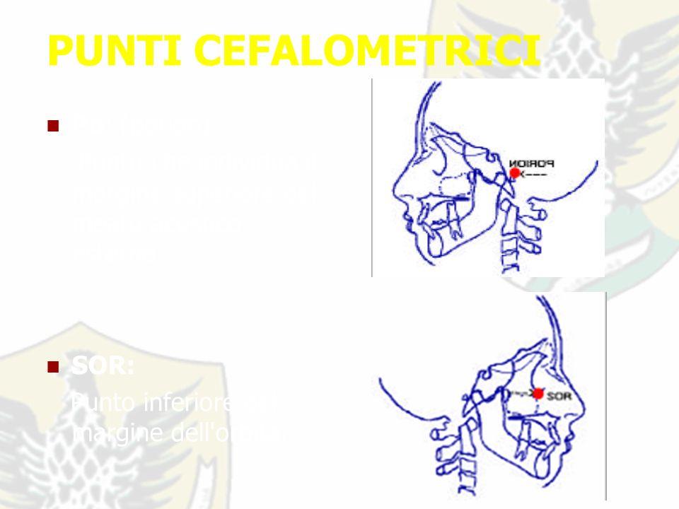 PUNTI CEFALOMETRICI Po: (porion) Punto che individua il margine superiore del meato acustico esterno.