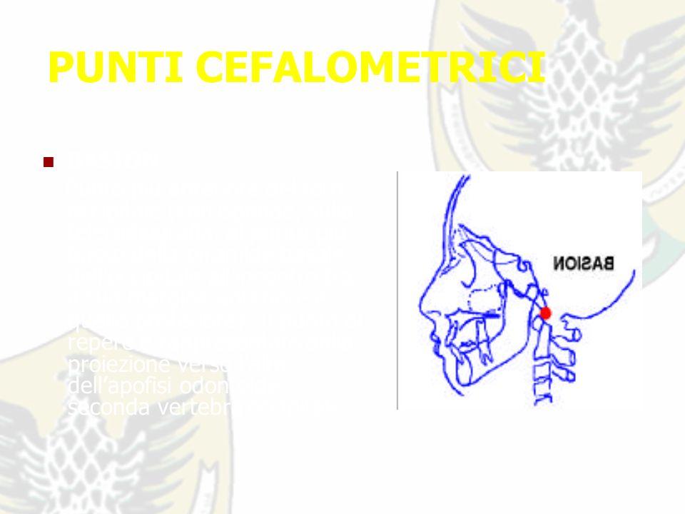 PUNTI CEFALOMETRICI BASION : Punto più anteriore del foro occipitale (corrisponde, sulla teleradiografia, al punto più basso della piramide basale delloccipitale allincontro tra il suo margine anteriore e quello posteriore).