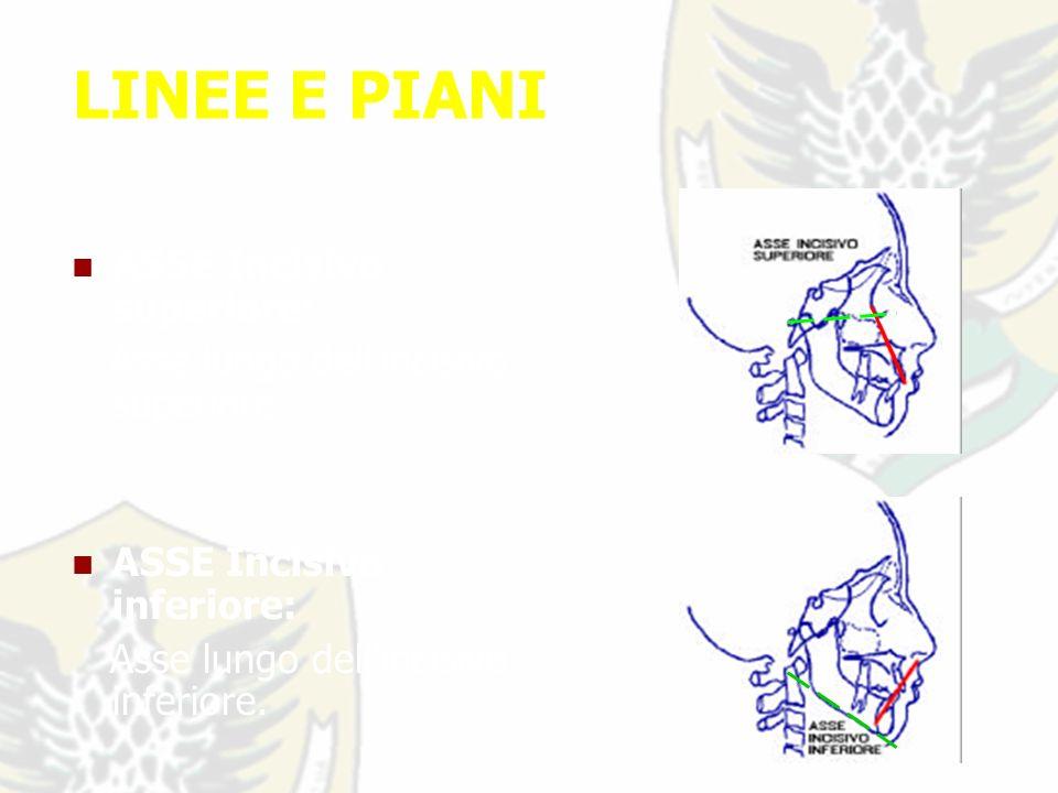 LINEE E PIANI ASSE Incisivo superiore: Asse lungo dell incisivo superiore.