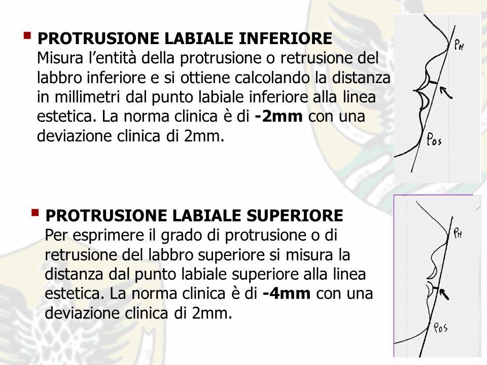 PROTRUSIONE LABIALE INFERIORE Misura lentità della protrusione o retrusione del labbro inferiore e si ottiene calcolando la distanza in millimetri dal punto labiale inferiore alla linea estetica.