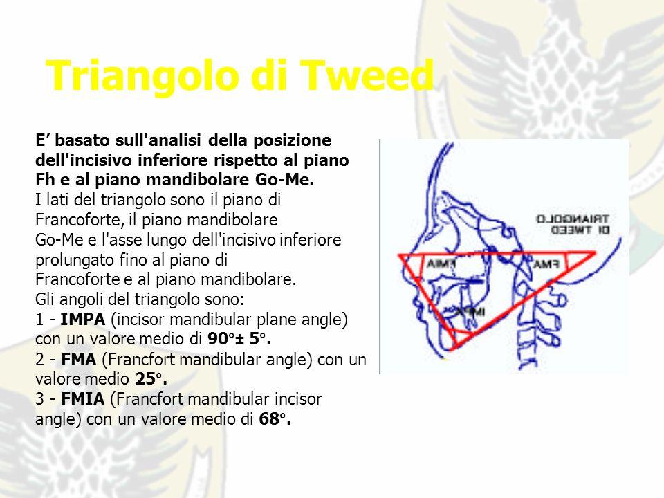Triangolo di Tweed E basato sull analisi della posizione dell incisivo inferiore rispetto al piano Fh e al piano mandibolare Go-Me.