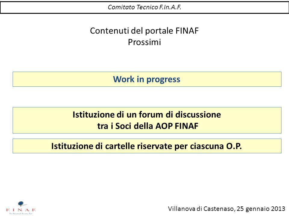 Villanova di Castenaso, 25 gennaio 2013 Contenuti del portale FINAF Prossimi Istituzione di un forum di discussione tra i Soci della AOP FINAF Comitato Tecnico F.In.A.F.