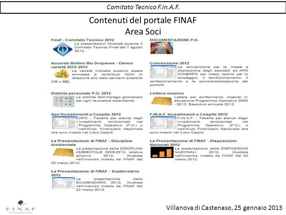 Villanova di Castenaso, 25 gennaio 2013 Contenuti del portale FINAF Disposizioni OCM Comitato Tecnico F.In.A.F.