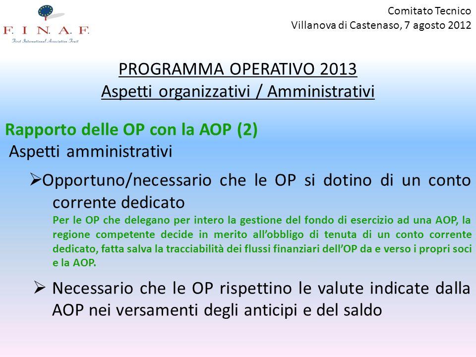 Comitato Tecnico Villanova di Castenaso, 7 agosto 2012 PROGRAMMA OPERATIVO 2013 Aspetti organizzativi / Amministrativi Rapporto delle OP con la AOP (2