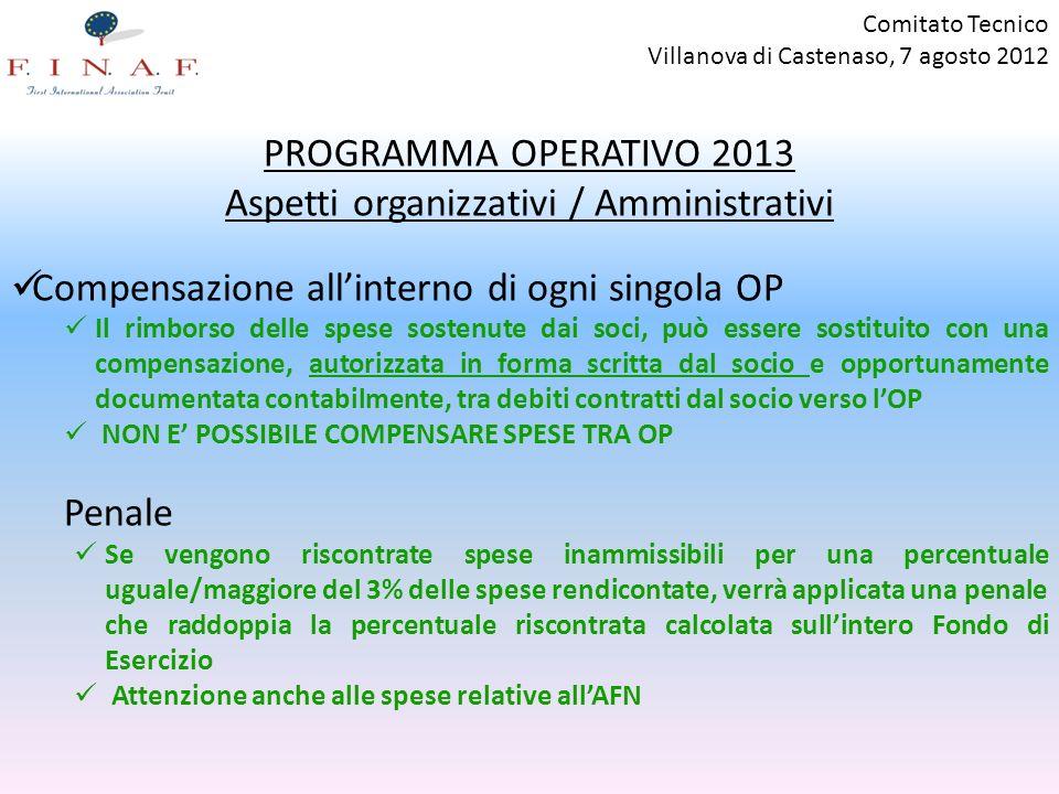 Comitato Tecnico Villanova di Castenaso, 7 agosto 2012 PROGRAMMA OPERATIVO 2013 Aspetti organizzativi / Amministrativi Compensazione allinterno di ogn