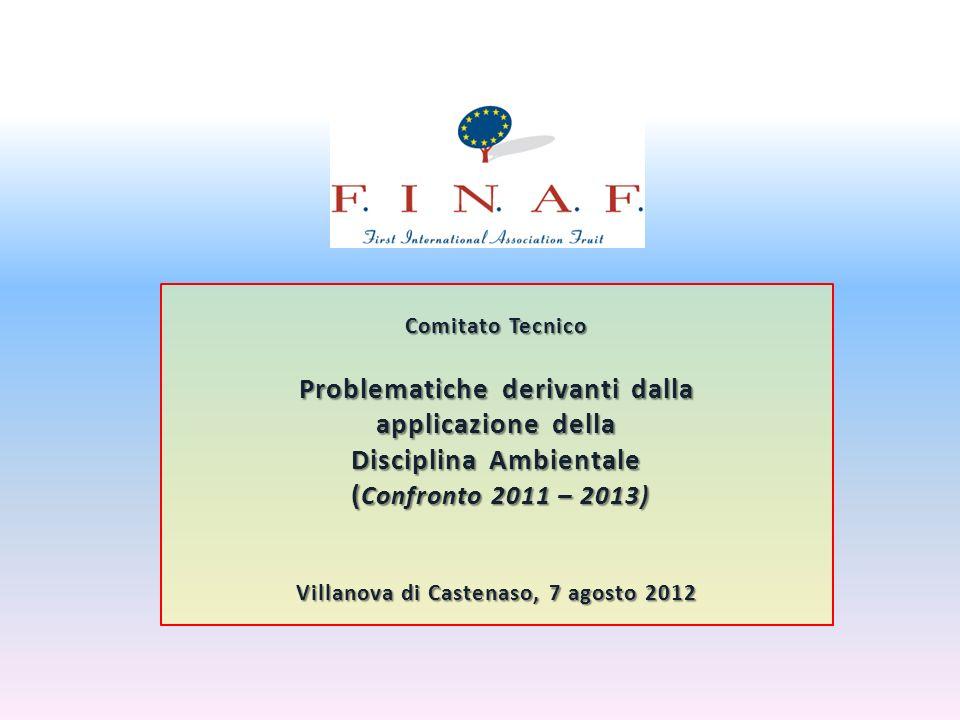 Comitato Tecnico Problematiche derivanti dalla applicazione della Disciplina Ambientale ( Confronto 2011 – 2013) ( Confronto 2011 – 2013) Villanova di Castenaso, 7 agosto 2012