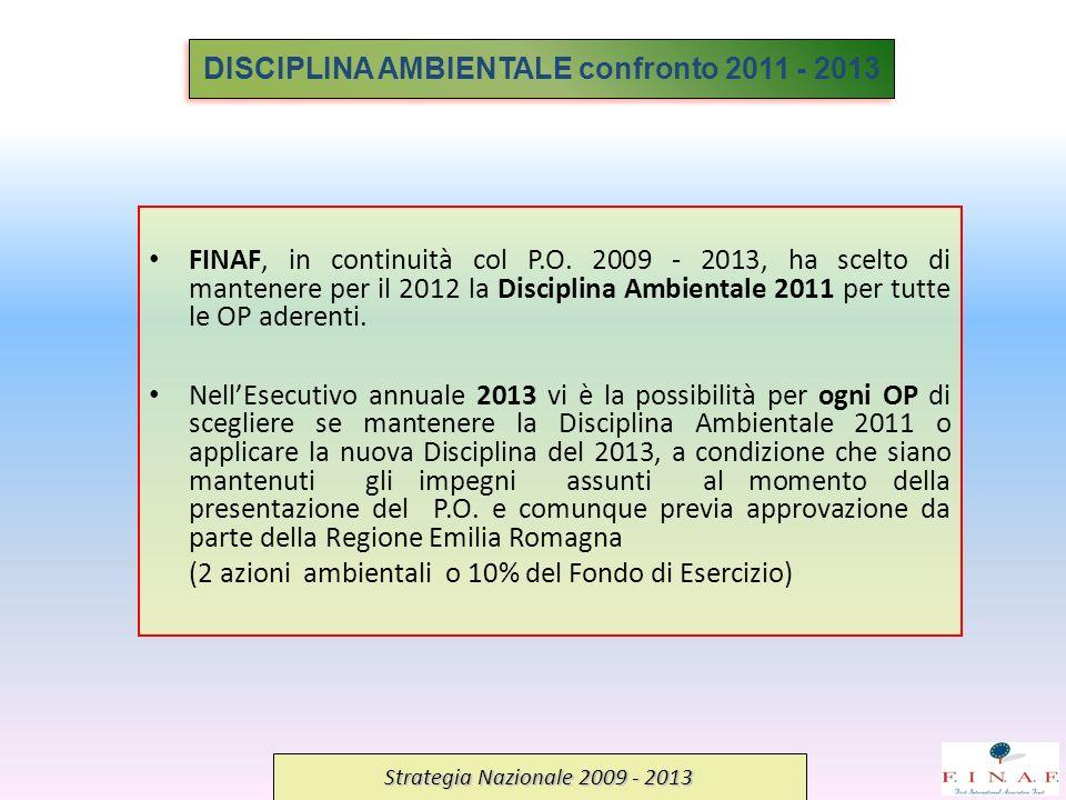 FINAF, in continuità col P.O. 2009 - 2013, ha scelto di mantenere per il 2012 la Disciplina Ambientale 2011 per tutte le OP aderenti. NellEsecutivo an