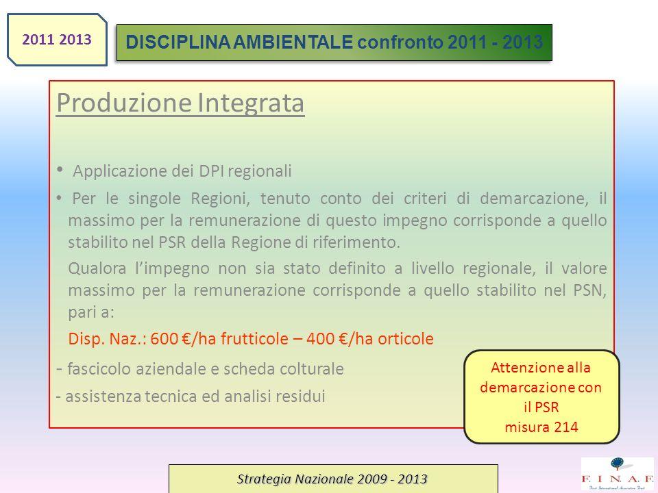 Produzione Integrata Applicazione dei DPI regionali Per le singole Regioni, tenuto conto dei criteri di demarcazione, il massimo per la remunerazione