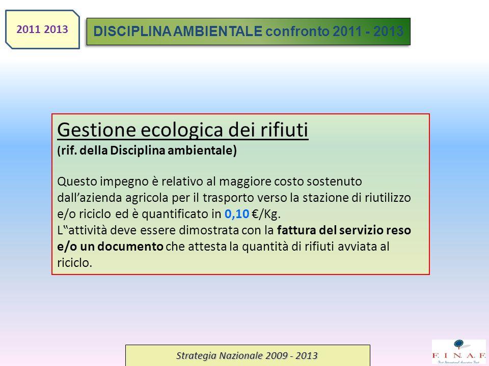 Strategia Nazionale 2009 - 2013 Gestione ecologica dei rifiuti ( rif. della Disciplina ambientale) Questo impegno è relativo al maggiore costo sostenu
