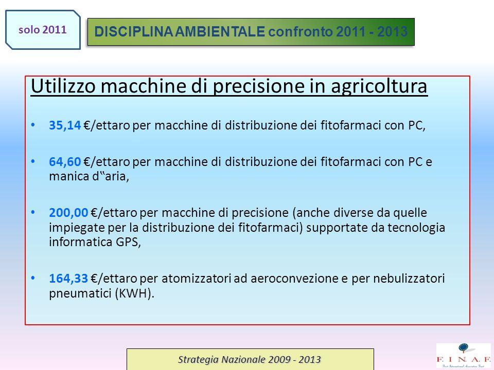 Utilizzo macchine di precisione in agricoltura 35,14 /ettaro per macchine di distribuzione dei fitofarmaci con PC, 64,60 /ettaro per macchine di distribuzione dei fitofarmaci con PC e manica daria, 200,00 /ettaro per macchine di precisione (anche diverse da quelle impiegate per la distribuzione dei fitofarmaci) supportate da tecnologia informatica GPS, 164,33 /ettaro per atomizzatori ad aeroconvezione e per nebulizzatori pneumatici (KWH).