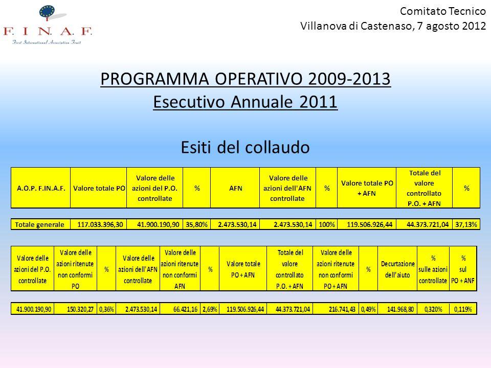 PROGRAMMA OPERATIVO 2009-2013 Esecutivo Annuale 2011 Esiti del collaudo Comitato Tecnico Villanova di Castenaso, 7 agosto 2012