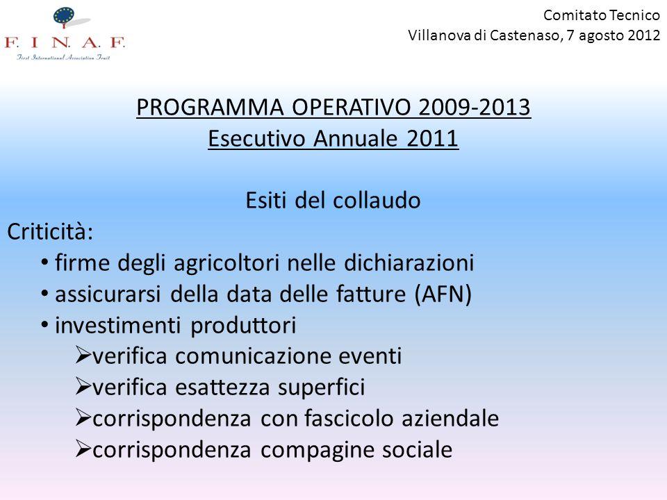 PROGRAMMA OPERATIVO 2009-2013 Esecutivo Annuale 2011 Esiti del collaudo Criticità: firme degli agricoltori nelle dichiarazioni assicurarsi della data