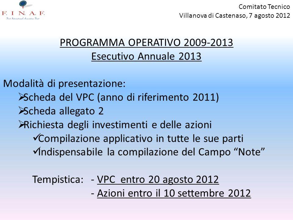 Comitato Tecnico Villanova di Castenaso, 7 agosto 2012 PROGRAMMA OPERATIVO 2009-2013 Esecutivo Annuale 2013 Modalità di presentazione: Scheda del VPC