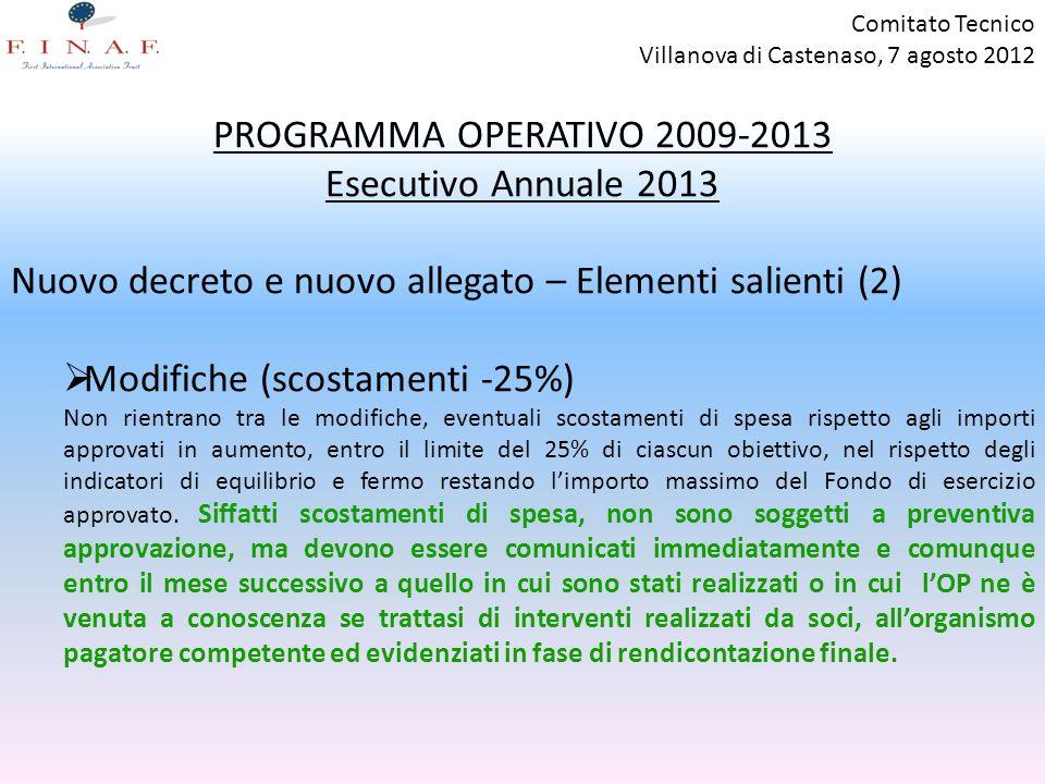 PROGRAMMA OPERATIVO 2009-2013 Esecutivo Annuale 2013 Nuovo decreto e nuovo allegato – Elementi salienti (2) Modifiche (scostamenti -25%) Non rientrano