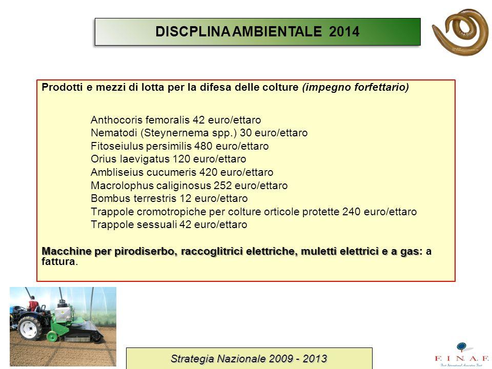 Prodotti e mezzi di lotta per la difesa delle colture (impegno forfettario) Anthocoris femoralis 42 euro/ettaro Nematodi (Steynernema spp.) 30 euro/et