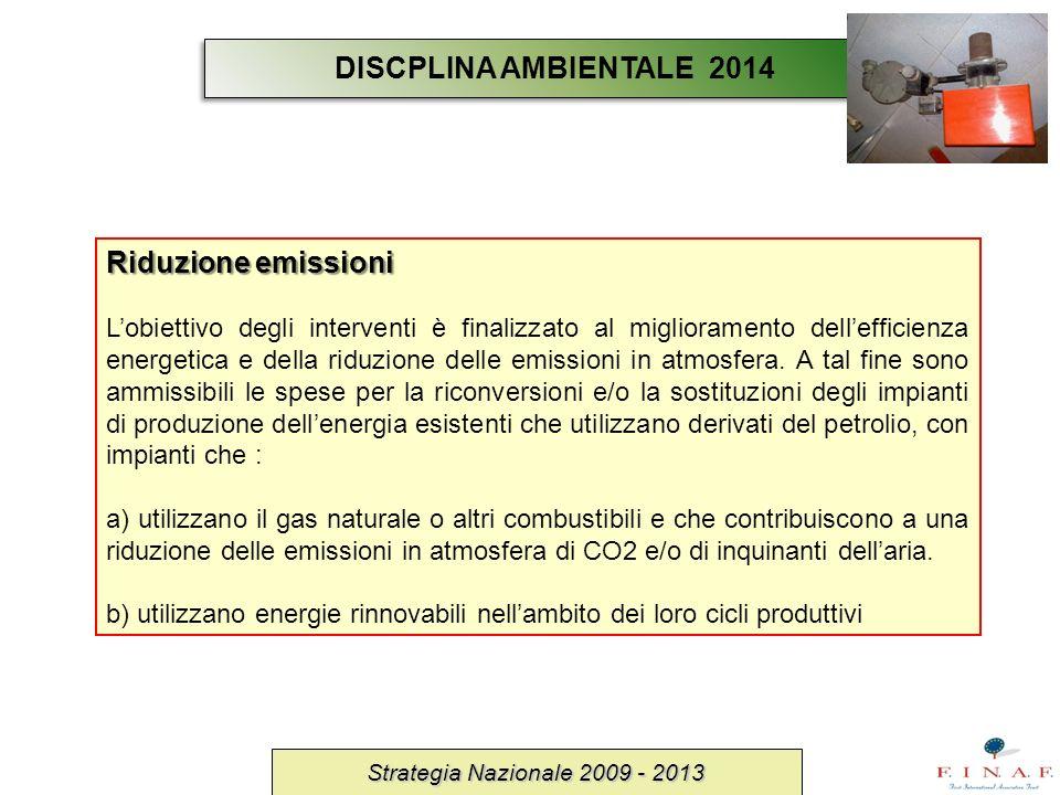 Strategia Nazionale 2009 - 2013 Riduzione emissioni Lobiettivo degli interventi è finalizzato al miglioramento dellefficienza energetica e della riduz