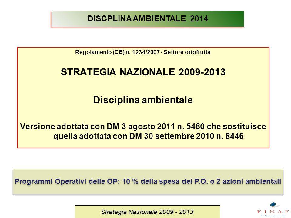 Regolamento (CE) n. 1234/2007 - Settore ortofrutta STRATEGIA NAZIONALE 2009-2013 Disciplina ambientale Versione adottata con DM 3 agosto 2011 n. 5460