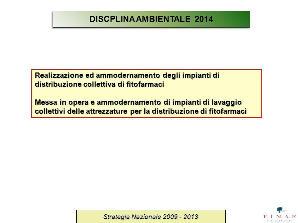 Strategia Nazionale 2009 - 2013 Realizzazione ed ammodernamento degli impianti di distribuzione collettiva di fitofarmaci Messa in opera e ammodername