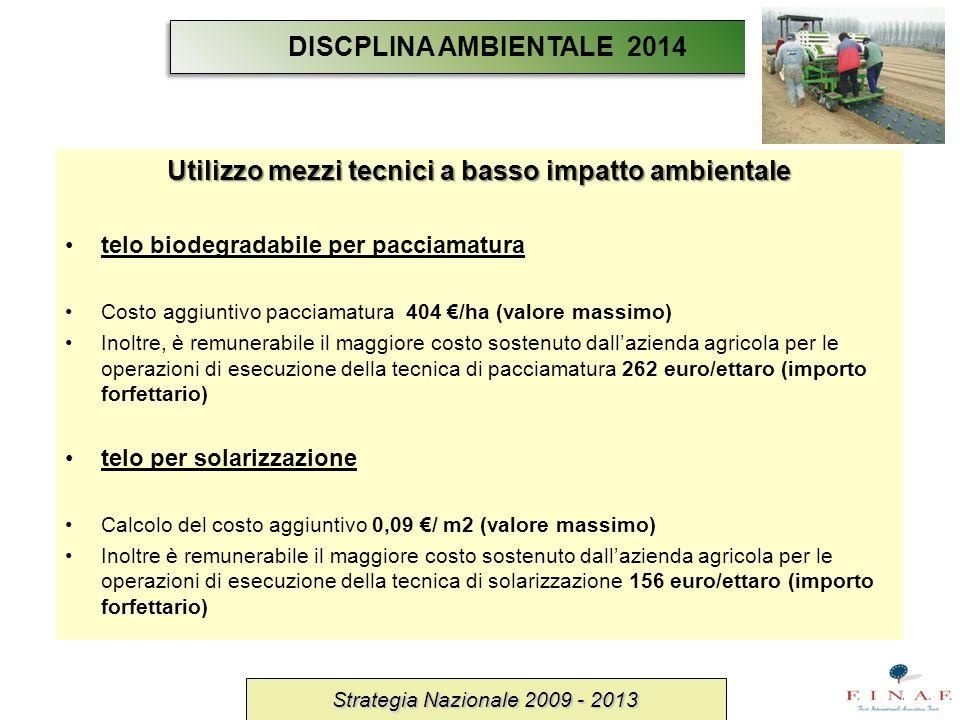 Utilizzo mezzi tecnici a basso impatto ambientale telo biodegradabile per pacciamatura Costo aggiuntivo pacciamatura 404 /ha (valore massimo) Inoltre,