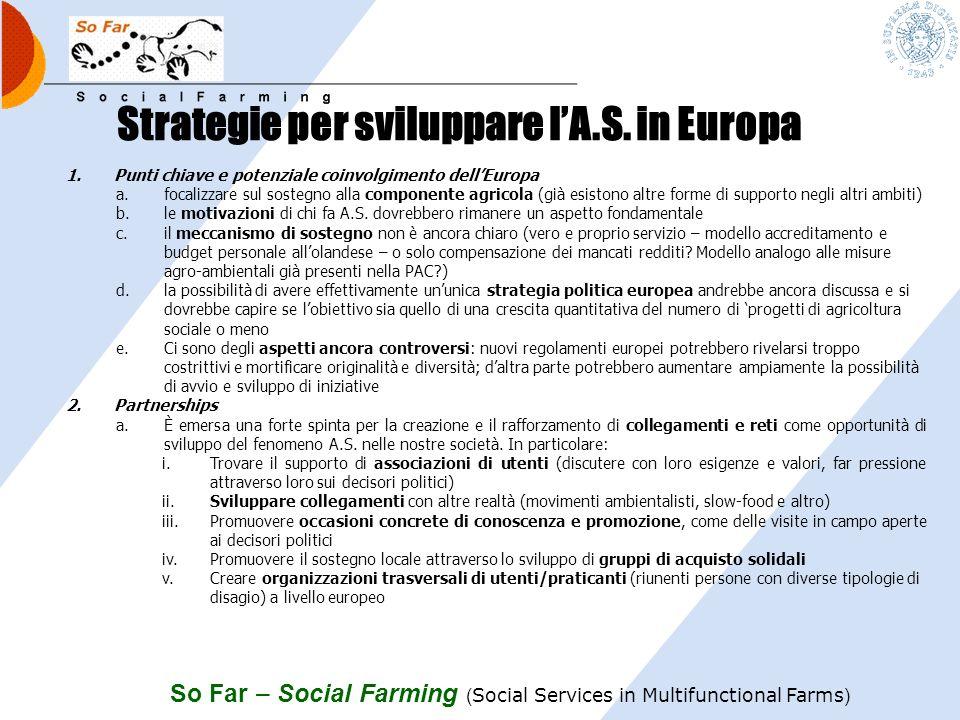 So Far – Social Farming ( Social Services in Multifunctional Farms ) Le questioni aperte 1.Come garantire che i diritti degli utenti siano assicurati