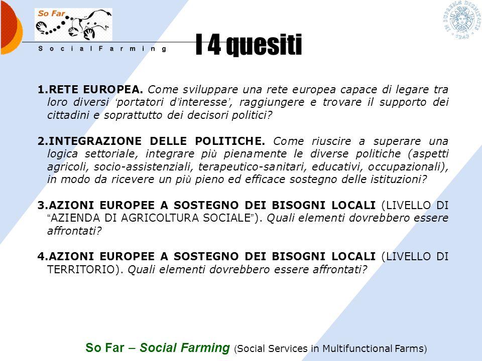 So Far – Social Farming ( Social Services in Multifunctional Farms ) Il lavoro della 2 piattaforma nazionale Contribuire alla costruzione di una visio