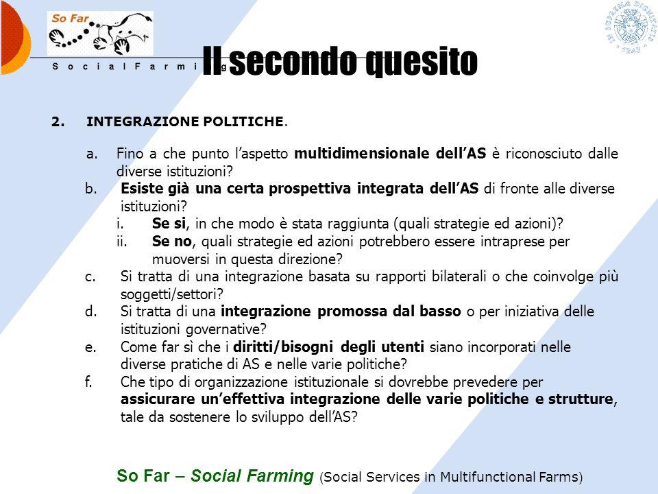 So Far – Social Farming ( Social Services in Multifunctional Farms ) Il primo quesito 1.RETE EUROPEA. a.Quale può essere il valore aggiunto, il ruolo