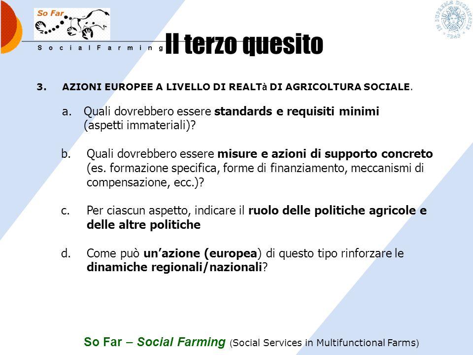 So Far – Social Farming ( Social Services in Multifunctional Farms ) Il secondo quesito 2.INTEGRAZIONE POLITICHE. a.Fino a che punto laspetto multidim