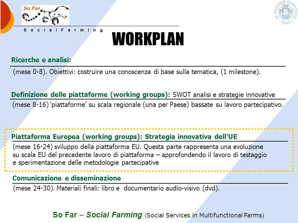 So Far – Social Farming ( Social Services in Multifunctional Farms ) Ricerche e analisi: Definizione delle piattaforme (working groups): SWOT analisi e strategie innovative (mese 24-30).