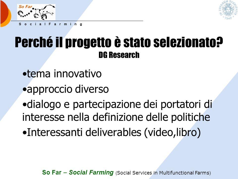 So Far – Social Farming ( Social Services in Multifunctional Farms ) I 4 quesiti 1.RETE EUROPEA.
