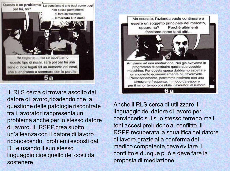 E evidente lalleanza tra le due figure RSPP e RLS,che si confermano reciprocamente nellintento di ricercare una mediazione possibile con il datore di lavoro.