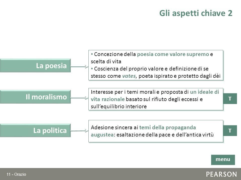 11 - Orazio Gli aspetti chiave 2 T Il moralismo Interesse per i temi morali e proposta di un ideale di vita razionale basato sul rifiuto degli eccessi