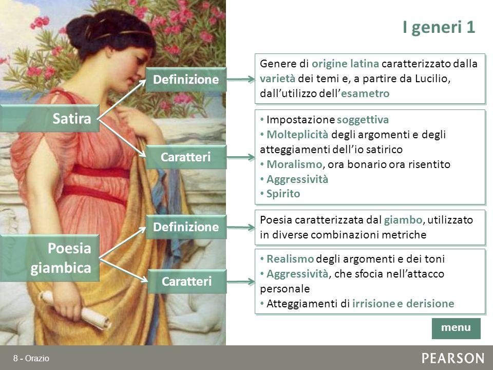 8 - Orazio I generi 1 Satira Genere di origine latina caratterizzato dalla varietà dei temi e, a partire da Lucilio, dallutilizzo dellesametro Definiz