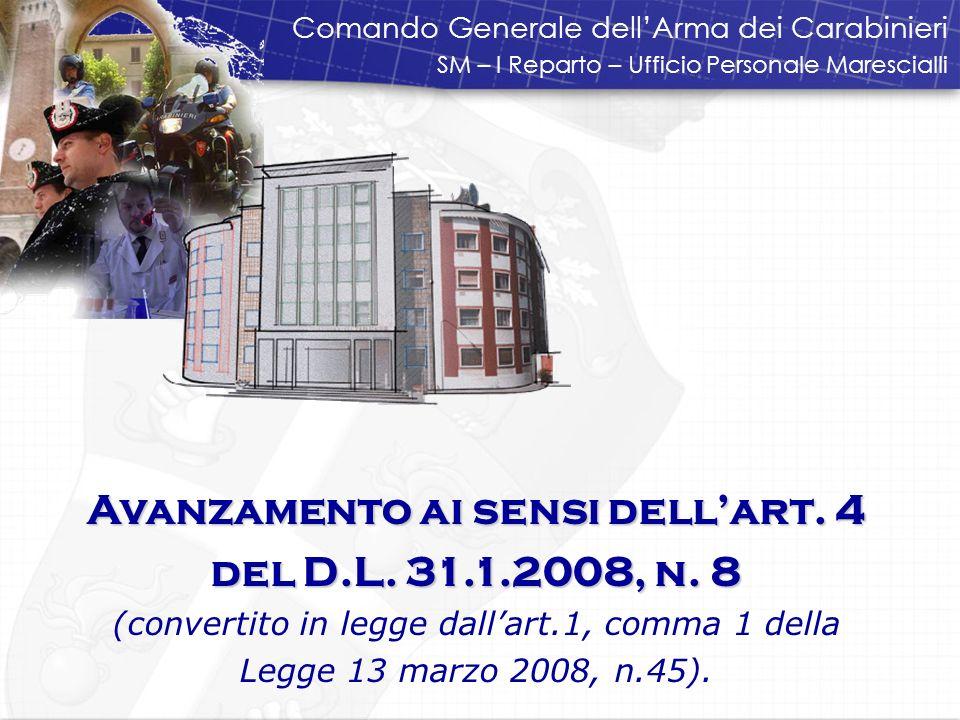 Avanzamento ai sensi dellart.4 del D.L. 31.1.2008, n.
