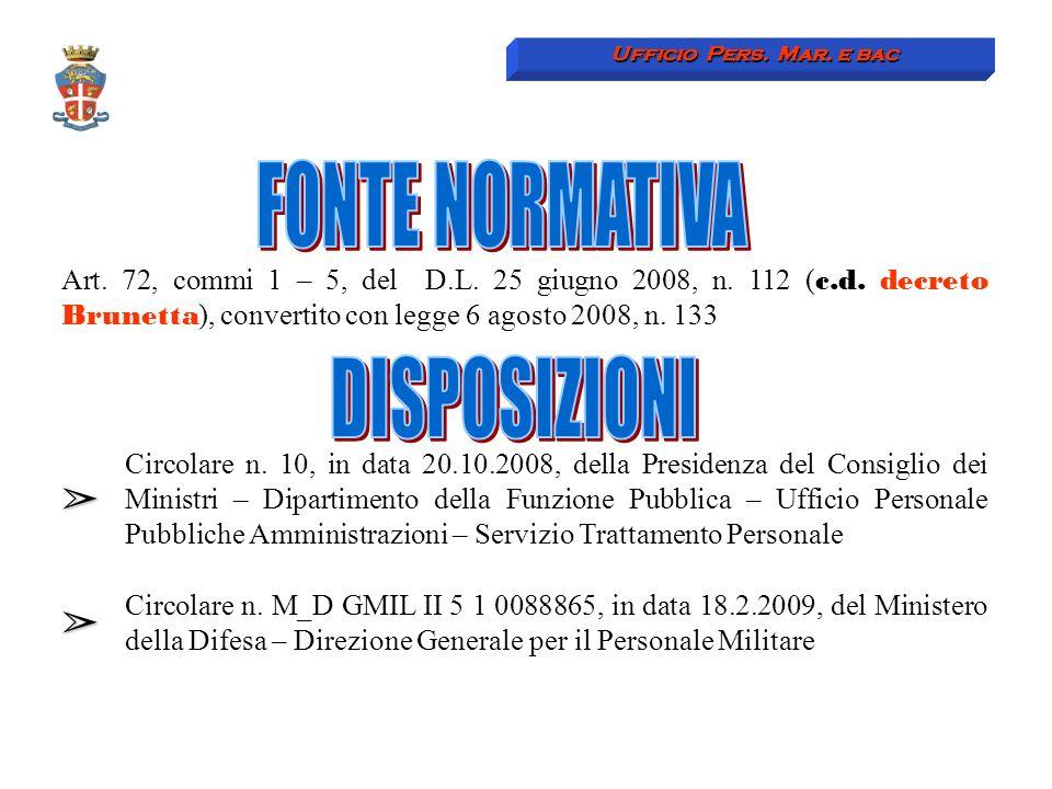 Art. 72, commi 1 – 5, del D.L. 25 giugno 2008, n. 112 ( c.d. decreto Brunetta ), convertito con legge 6 agosto 2008, n. 133 Circolare n. 10, in data 2
