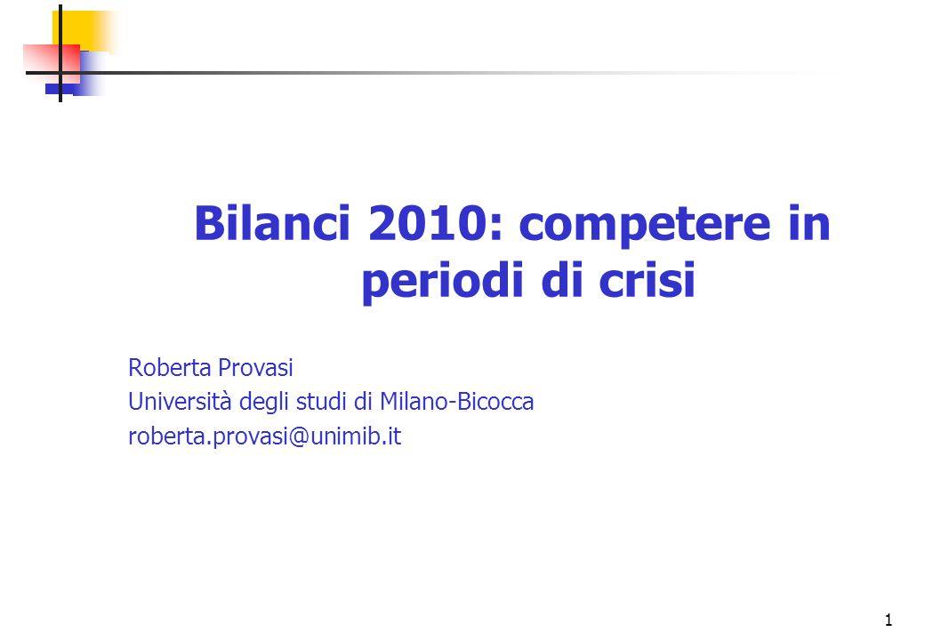 1 Bilanci 2010: competere in periodi di crisi Roberta Provasi Università degli studi di Milano-Bicocca roberta.provasi@unimib.it