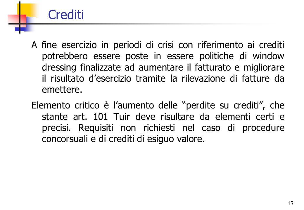 13 Crediti A fine esercizio in periodi di crisi con riferimento ai crediti potrebbero essere poste in essere politiche di window dressing finalizzate