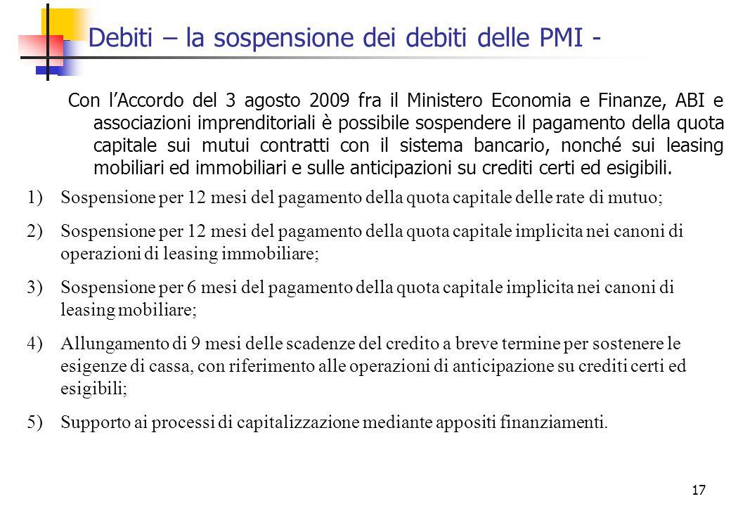 17 Debiti – la sospensione dei debiti delle PMI - Con lAccordo del 3 agosto 2009 fra il Ministero Economia e Finanze, ABI e associazioni imprenditoria