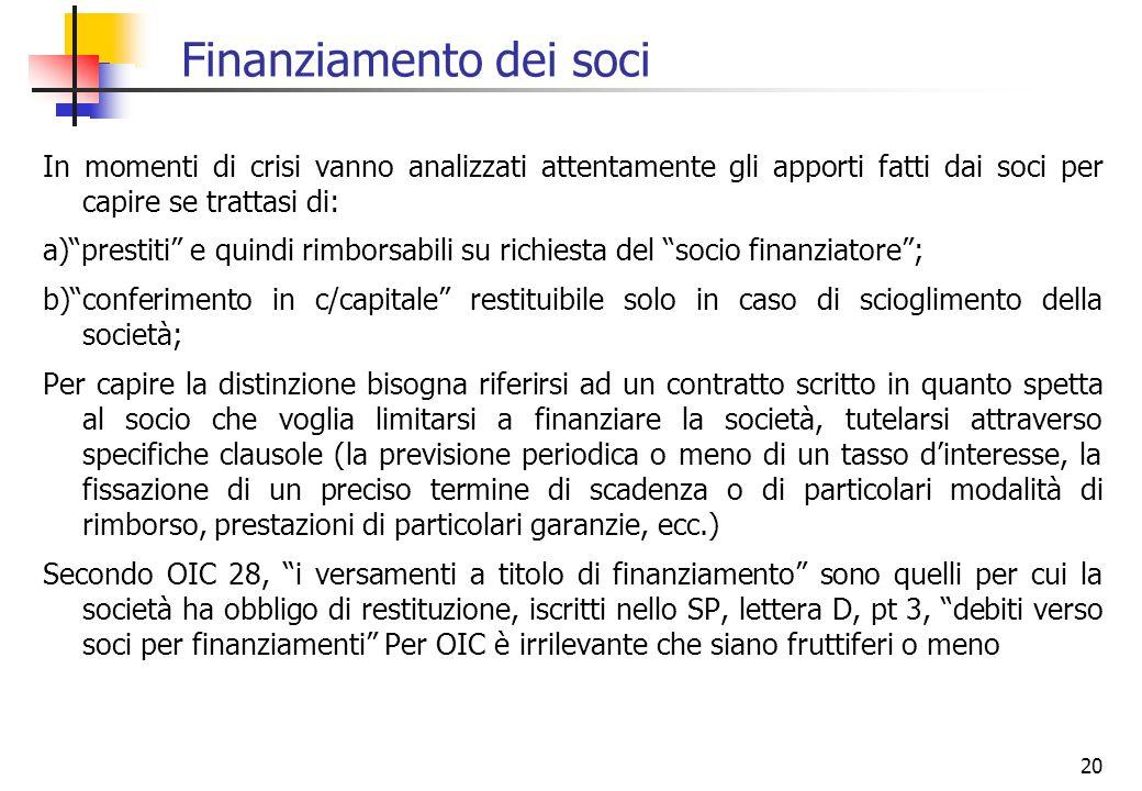 20 Finanziamento dei soci In momenti di crisi vanno analizzati attentamente gli apporti fatti dai soci per capire se trattasi di: a)prestiti e quindi